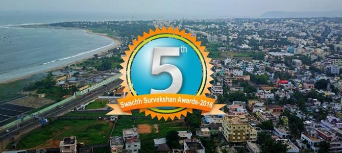 Vishakapatnam stood 5th position in top 15 clean cities