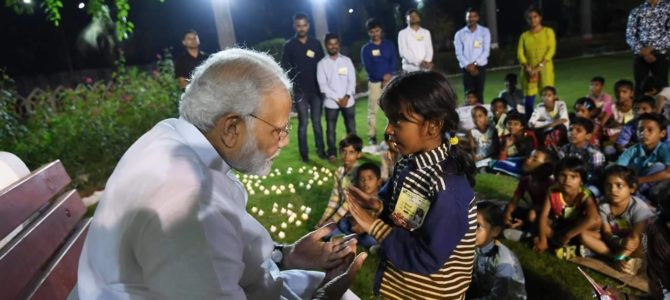 Glimpses of Shri Narendra Modi ji Spending time with children's in Varanasi.