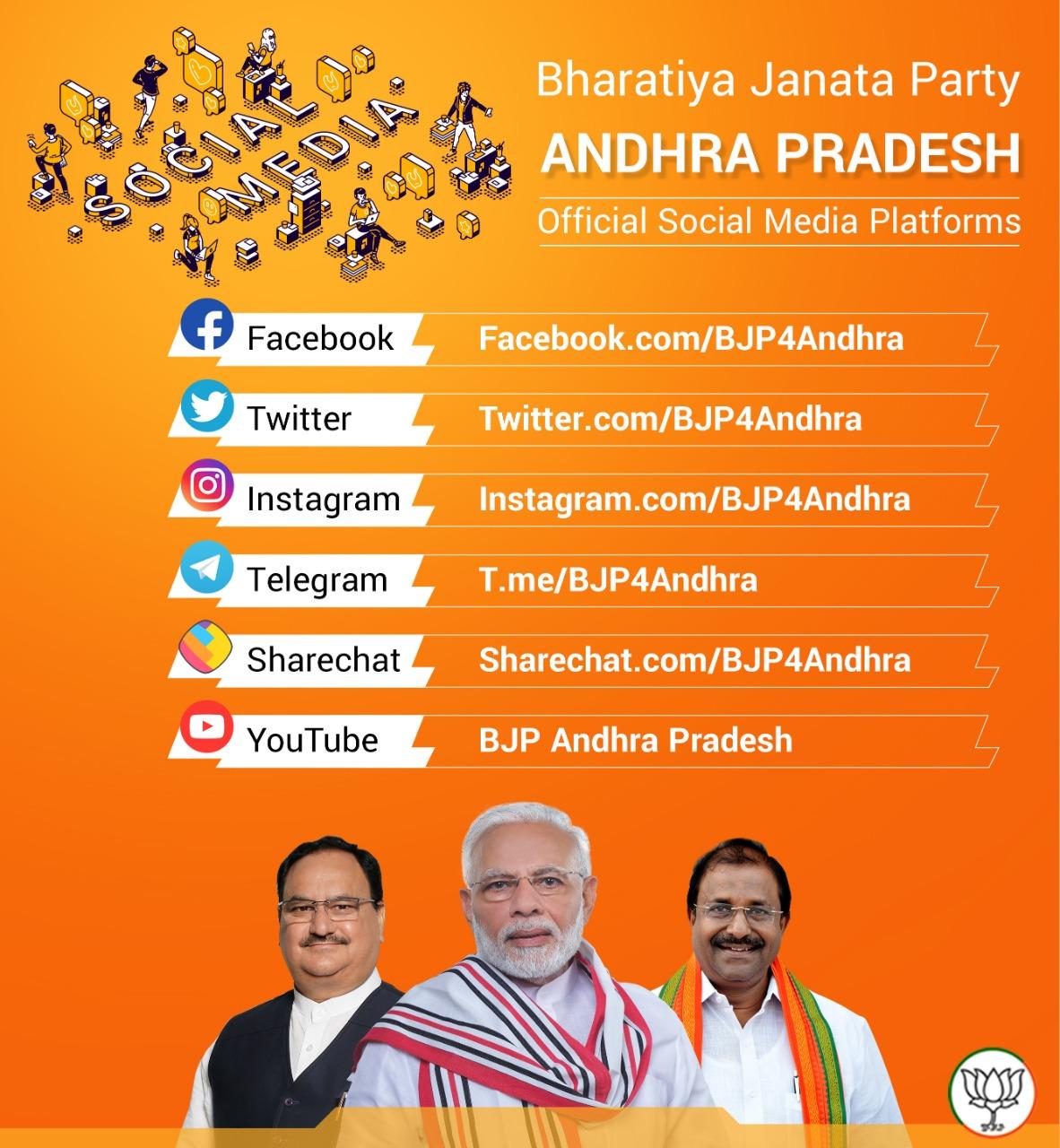 Official Social Media Platforms of Bharatiya Janata Party Andhra Pradesh
